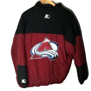 STARTER Colorado Avalanche Half Zip Puffer Jacket